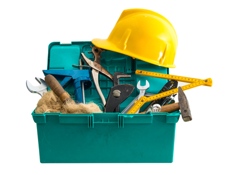dirty toolbox with many tools on white background  Stock Photo
