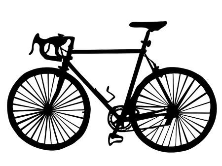 cyclist:   Silhouet van een fiets