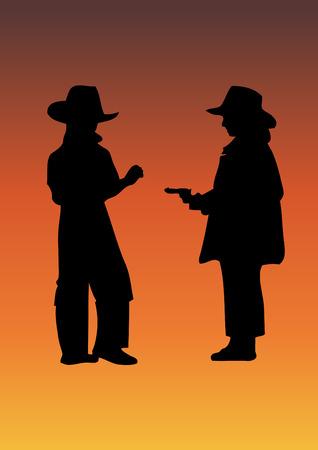 Cowboy with gun Vector