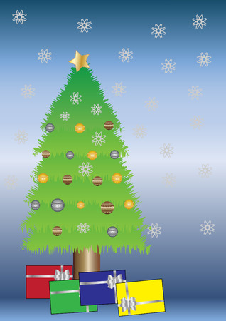 homely:   Christmas tree with gifts