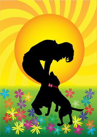 Girl palying with dog Vector