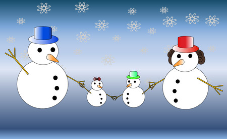 Snowman familly Stock Vector - 6035468