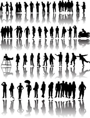 mucha gente: Muchas personas silueta con reflejos Vectores