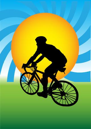bicycling:   Man on bike