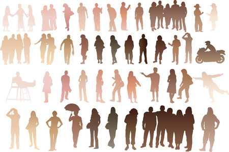skin diving:   Silhouette of people with all skintones