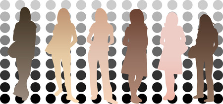 skin tones: Silhouettes of girls with different skin tones