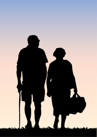 old wife: Old couple  Illustration