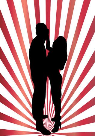 Dancing couple silhouette Stock Vector - 7472298
