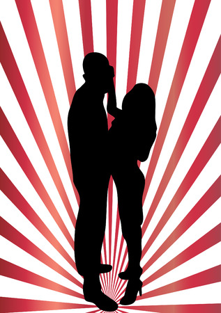 theatrical dance:   Dancing couple silhouette Illustration