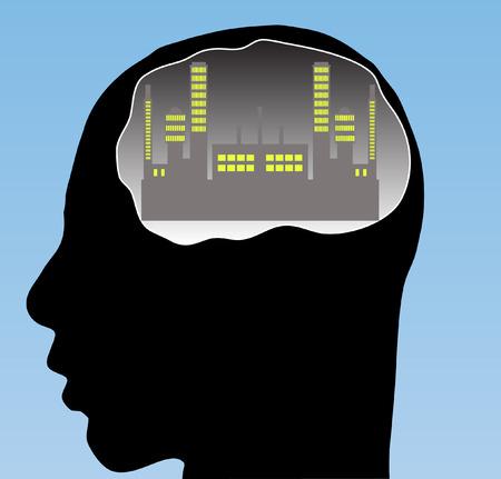 City in your brain  Vector