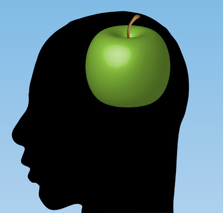 Apple in head  Illustration