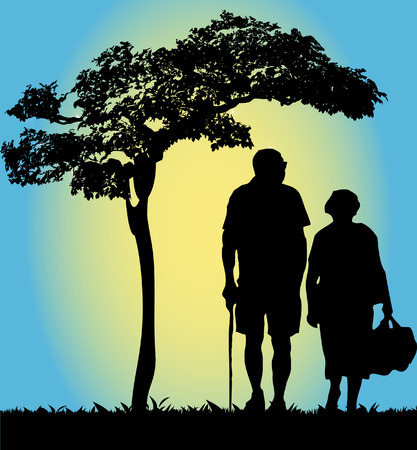 happy old people: Old couple  Illustration