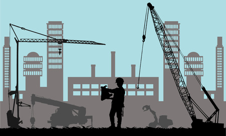 construction equipment: Construction place  Illustration
