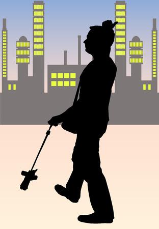 Man calling taxi  Vector