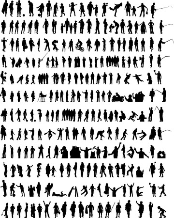 A lot of different people silhouettes