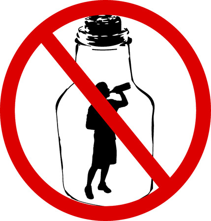 alcoholismo: Sin alcohol  Vectores