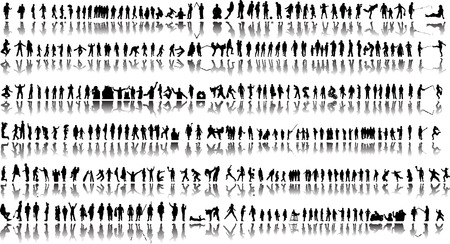More than 300 people silhouettes with reflection