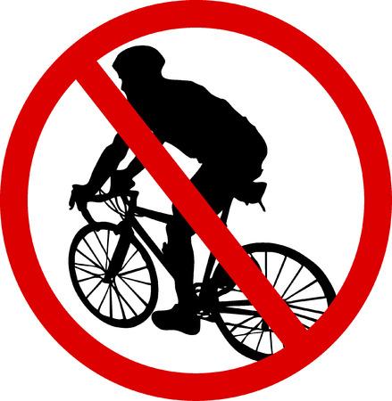 panneaux danger: Aucun signe de bicyclette Illustration