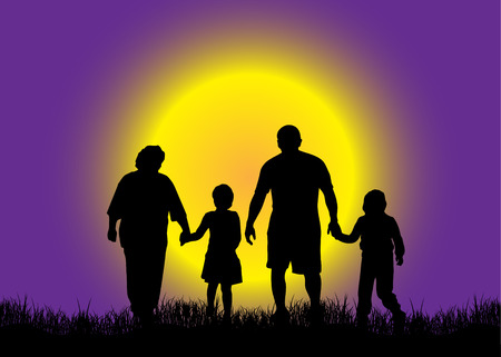 Family in nature  Vector
