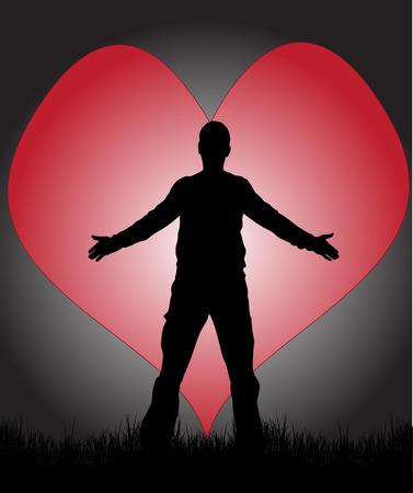bras lev�: Homme amoureux Illustration