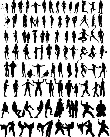 hundred people silhouettes Vector