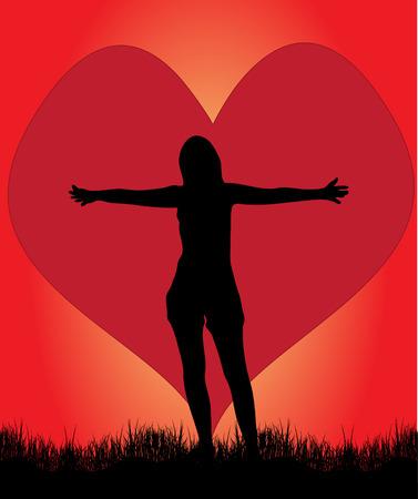 bras lev�: Jeune fille amoureuse