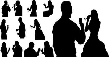 alcoholist:   Mensen met glas Stock Illustratie