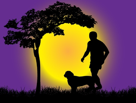 dog walking:  Boy with dog Illustration