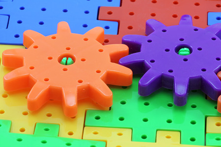 Macro photo of plastic wheel mechanism toy