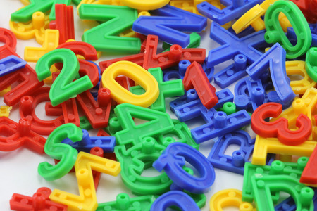 Colorful letters and numbers