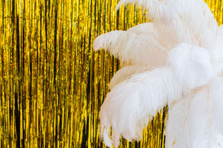 White ostrich feathers on gold texture background, 20s in luxurious retro flat lay creative concept. Roaring 1920s style. Art deco style new year party, birthday with golden decorations.