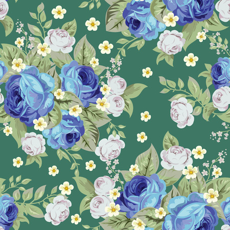 Blue cabbage roses and small white flowers ,seamless pattern 2