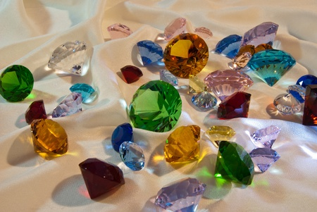 semiprecious: Collection of glass gems with green in center