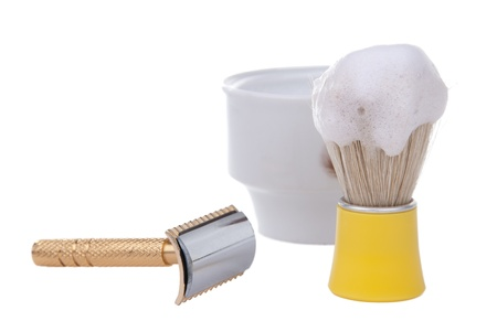 Old shaving set isolated on white background  photo
