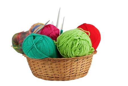 basket embroidery: Knitting kit isolated on white background
