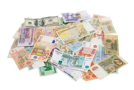 assorted world banknotes isolated on white background photo