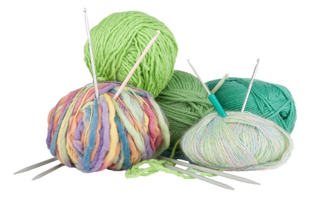 Knitting kit isolated on white background photo