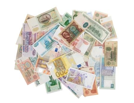 assorted world banknotes isolated on white background photo