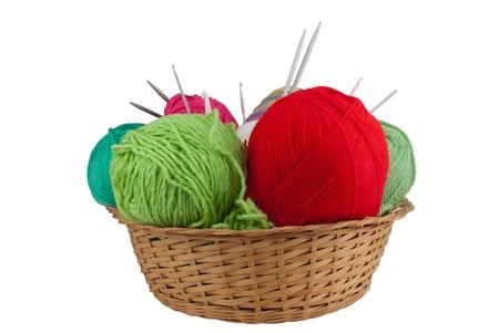 basket embroidery: Knitting set isolated on white background