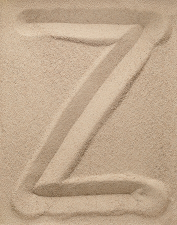 Letter Z of the alphabet writing on the sand Stock Photo - 15837083