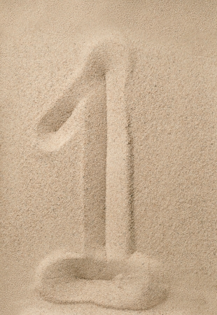 arabic number: Number one writing on the sand