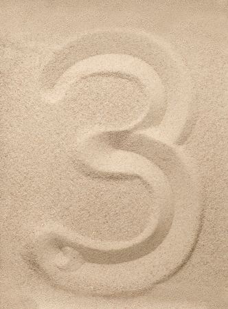 Number three writing on the sand Stock Photo - 16851067