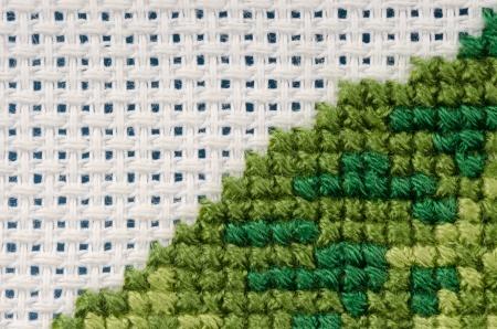 punto cruz: Punto de cruz close-up de color verde oscuro