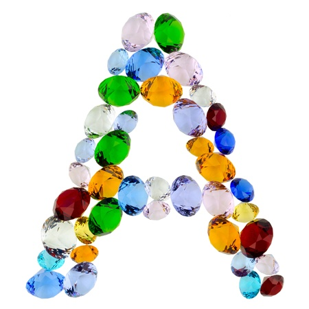 Letter A made of different colorful gems photo