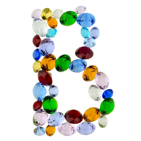 Letter B made of different colorful gems photo