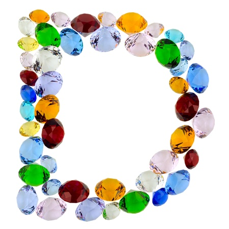 Letter D made of different colorful gems photo