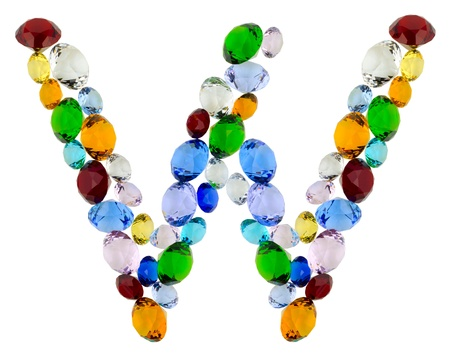Letter W made of different colorful gems photo