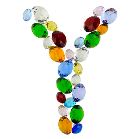 Letter Y made of different colorful gems photo
