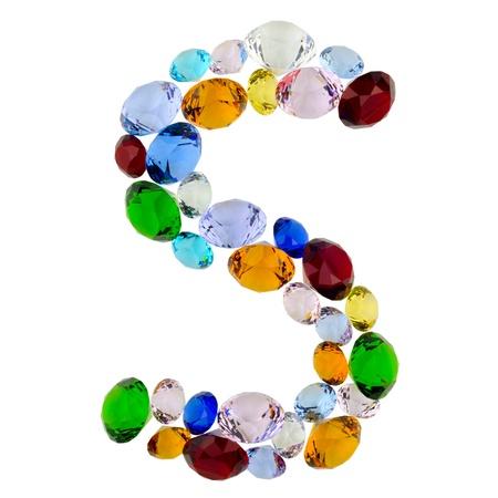 letra s: Letra S hecha de gemas de colores diferentes