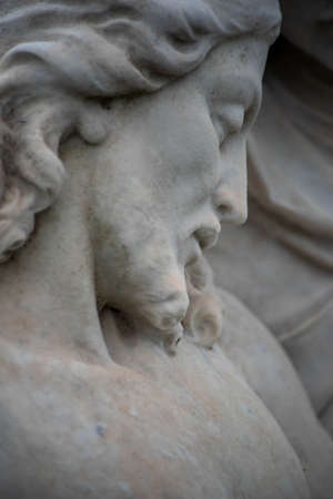 Abstract close up, Victorian cemetery statue, Jesuss face closed eyes